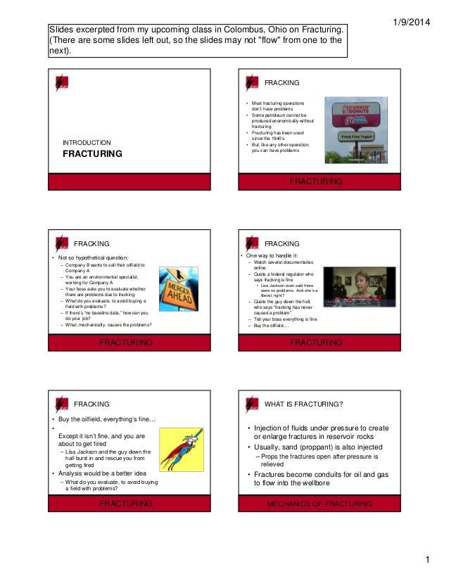Examples from frac presentation:   intro