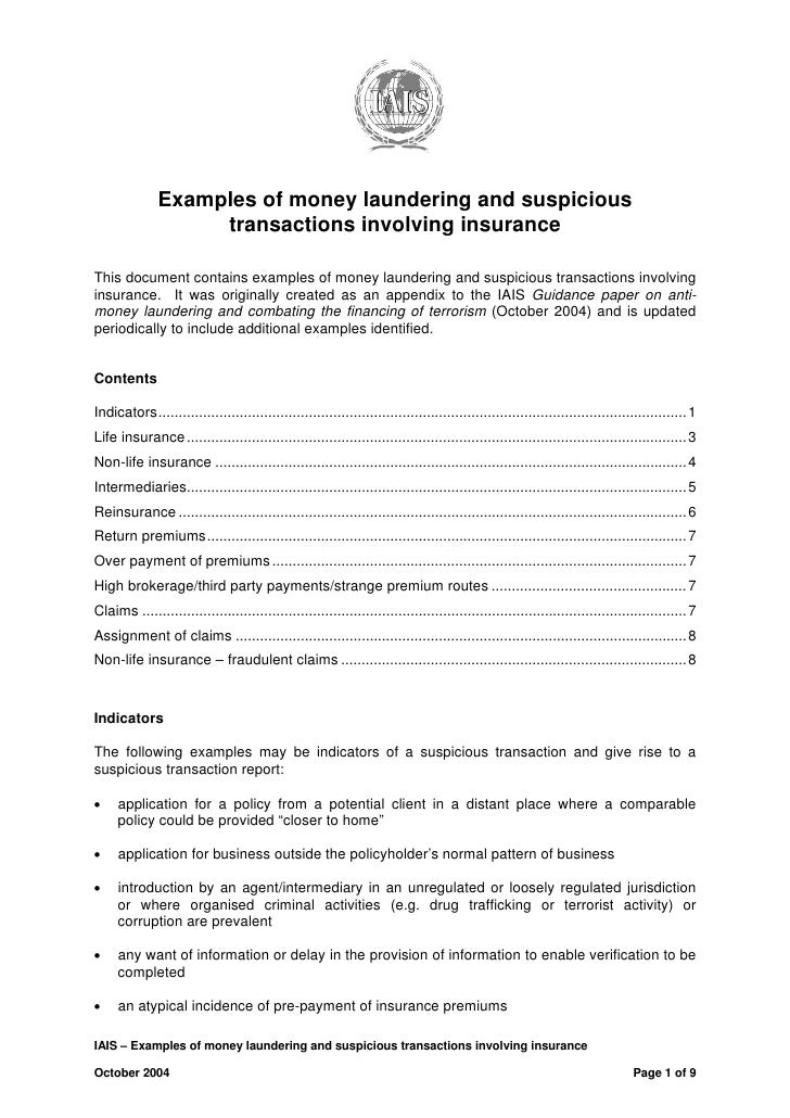 Examples of money laundering and suspicious                    transactions involving insuranceThis document contains exam...