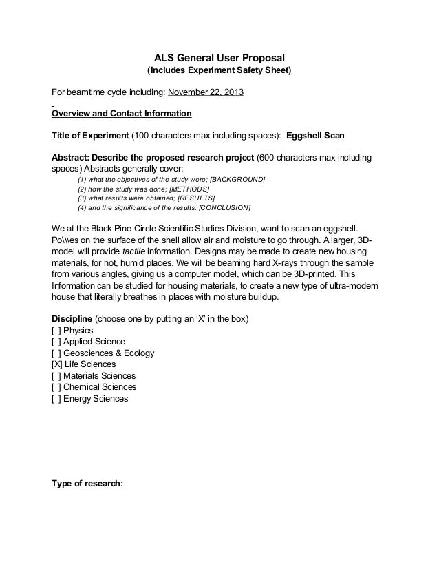 ALS General User Proposal (Includes Experiment Safety Sheet) For beamtime cycle including: November 22, 2013 Overview and ...