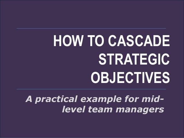Example team objective cascade