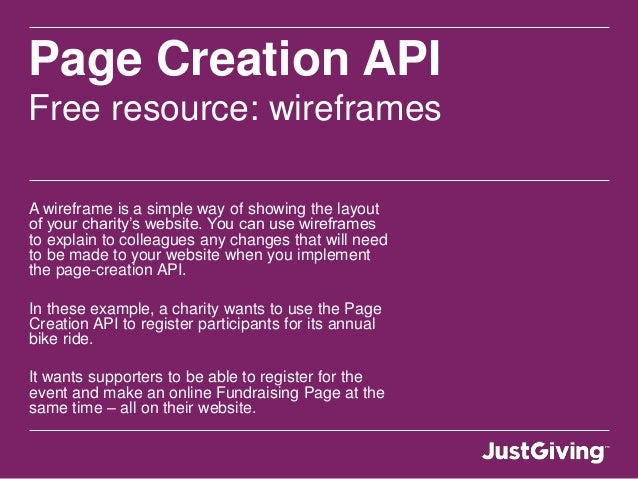 Page Creation API Free resource: wireframes A wireframe is a simple way of showing the layout of your charity's website. Y...