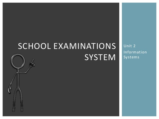 Unit 2InformationSystemsSCHOOL EXAMINATIONSSYSTEM