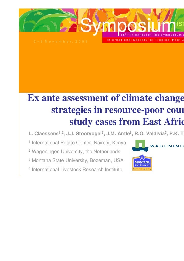 Ex ante assessment of climate change adaptation strategies in resource-poor countries: Study cases from East Africa