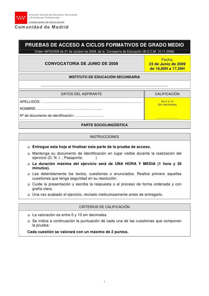 Dirección General de Educación Secundaria      y Enseñanzas Profesionales       CONSEJERÍA DE EDUCACIÓN  Comunidad de Madr...