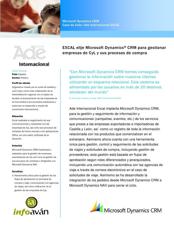 Microsoft Dynamics CRM                                                 Caso de éxito: Ade Internacional EXCAL             ...