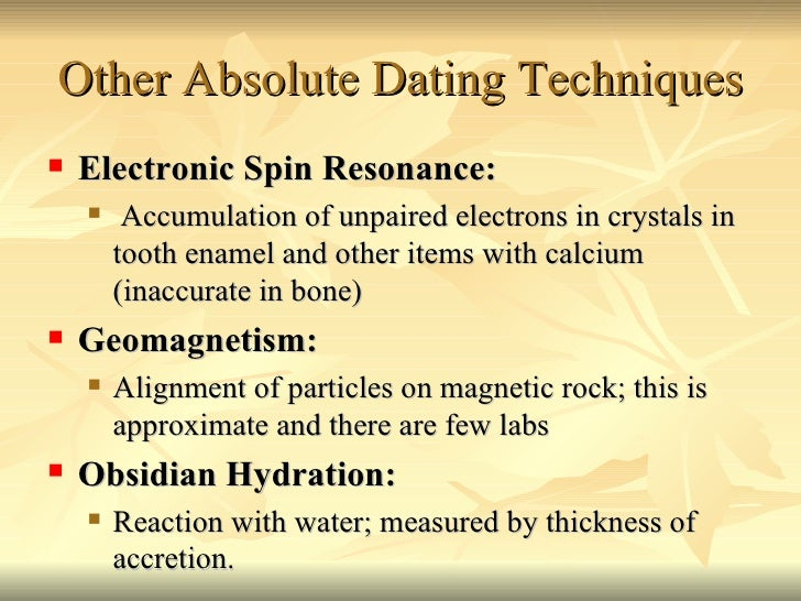 Relative dating techniques example