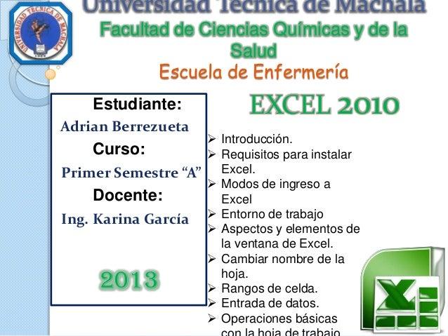 Universidad Técnica de Machala Facultad de Ciencias Químicas y de la Salud Escuela de Enfermería Estudiante: Adrian Berrez...