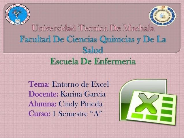 "Tema: Entorno de Excel Docente: Karina Garcia Alumna: Cindy Pineda Curso: 1 Semestre ""A"""