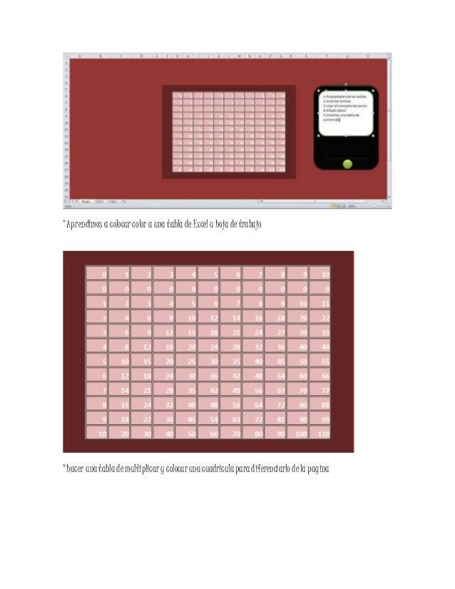 *Aprendimos a colocarcolor a una tabla de Excelu hoja detrabajo *hacer una tabla demultiplicary colocarunacuadriculapara d...