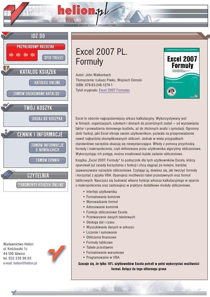 Excel 2007 PL.                            Formu³y                            Autor: John Walkenbach                       ...
