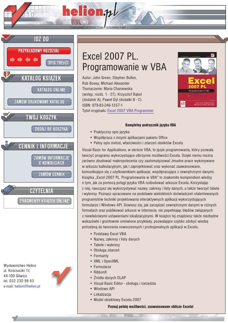 Excel 2007 PL.                            Programowanie w VBA                            Autor: John Green, Stephen Bullen...