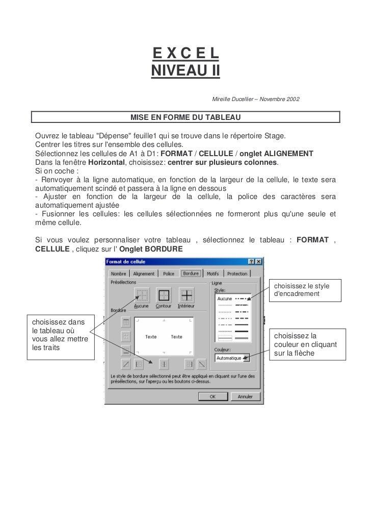 EXCEL                                   NIVEAU II                                                     Mireille Ducellier –...