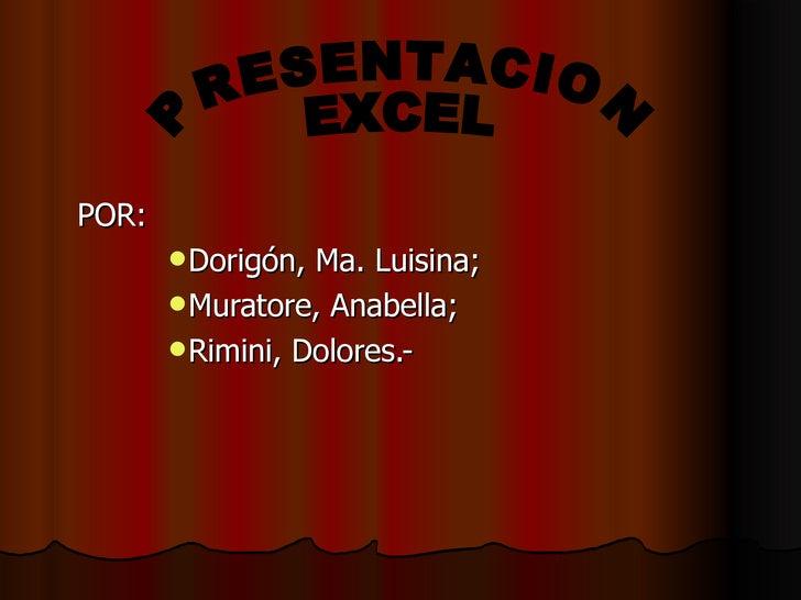 <ul><li>POR: </li></ul><ul><ul><ul><ul><li>Dorigón, Ma. Luisina; </li></ul></ul></ul></ul><ul><ul><ul><ul><li>Muratore, An...