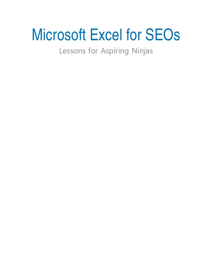 Microsoft Excel for SEOs    Lessons for Aspiring Ninjas