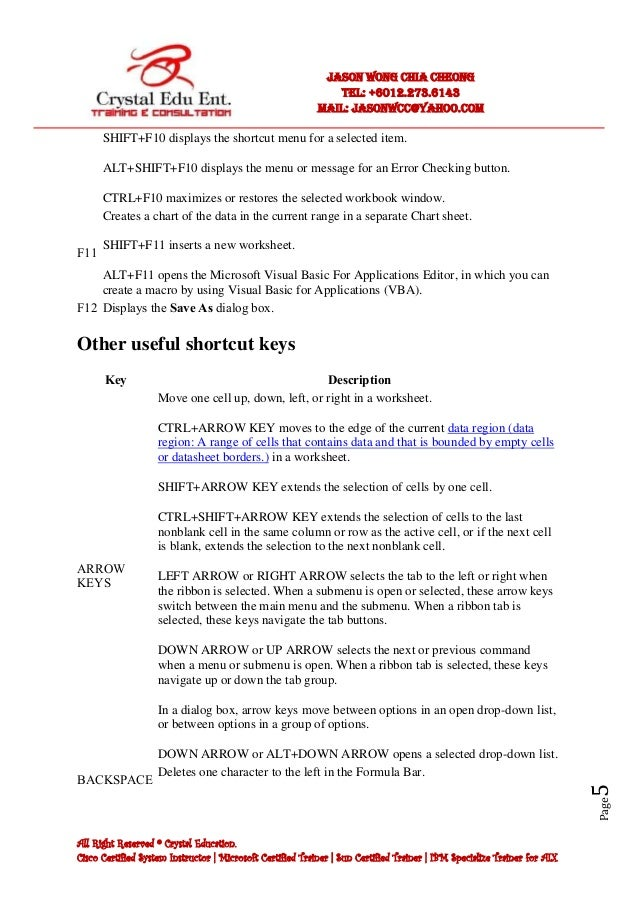excel shortcuts keys list pdf