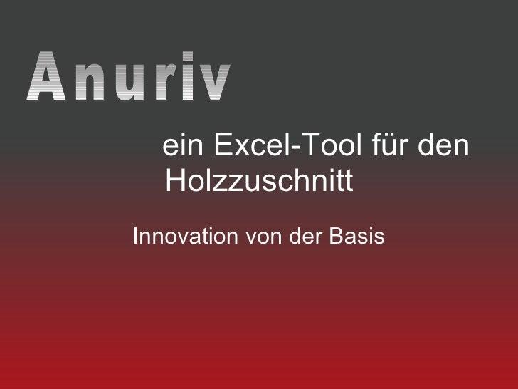 ein Excel-Tool für den   Holzzuschnitt Innovation von der Basis