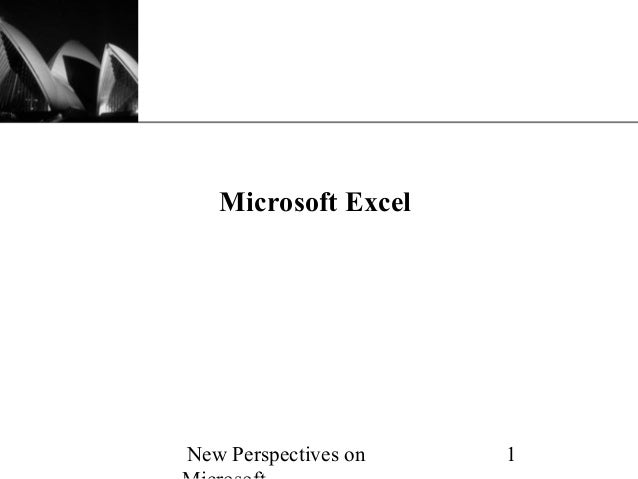 XP   Microsoft ExcelNew Perspectives on   1
