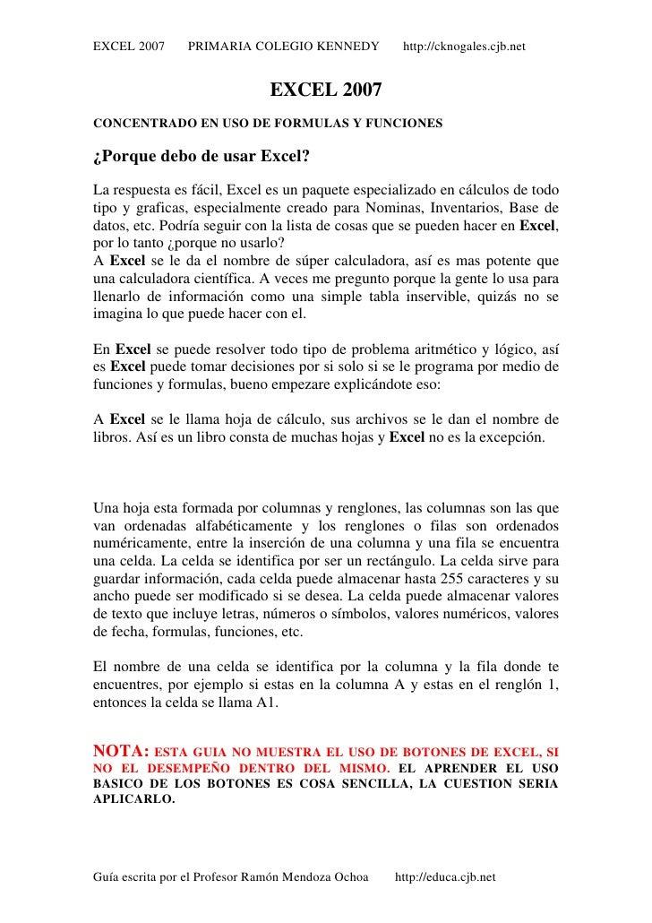 EXCEL 2007      PRIMARIA COLEGIO KENNEDY            http://cknogales.cjb.net                              EXCEL 2007CONCEN...