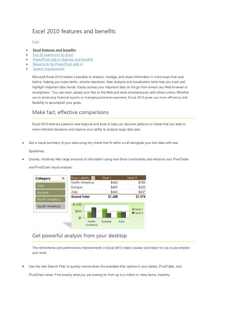 Excel 2010 features and benefits  Print  Excel features and benefits  Top 10 reasons to try Excel  PowerPivot add-in featu...