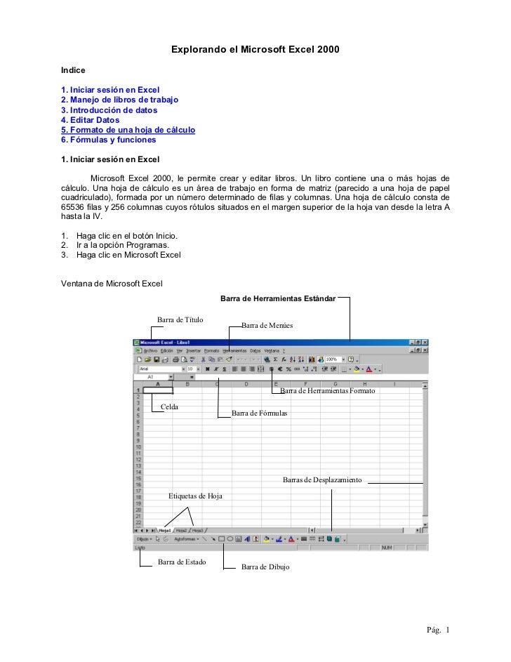 Explorando el Microsoft Excel 2000Indice1. Iniciar sesión en Excel2. Manejo de libros de trabajo3. Introducción de datos4....