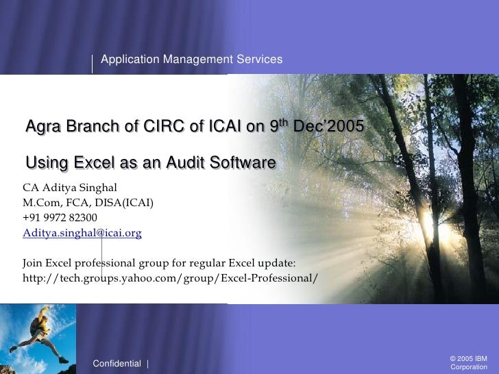 Application Management ServicesAgra Branch of CIRC of ICAI on 9th Dec'2005Using Excel as an Audit SoftwareCA Aditya Singha...