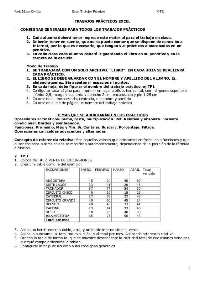 Prof. María Zavalía Excel Trabajos Prácticos GTR 1 TRABAJOS PRÁCTICOS EXCEL - CONSIGNAS GENERALES PARA TODOS LOS TRABAJOS ...