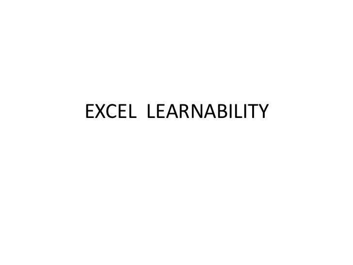 Excel  learnability