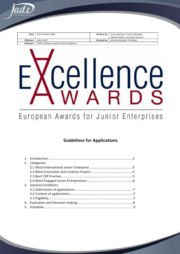 Excellence Awards 2010 Guidelines For Applicants (New)