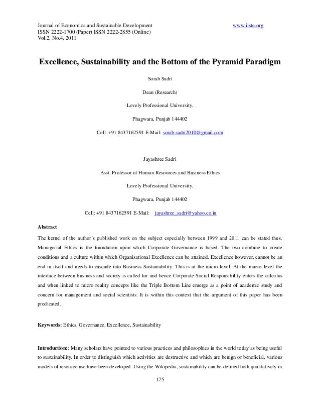 Journal of Economics and Sustainable Development www.iiste.org ISSN 2222-1700 (Paper) ISSN 2222-2855 (Online) Vol.2, No.4,...
