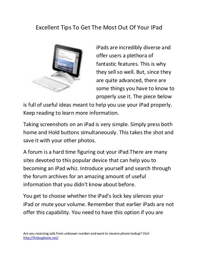 Excellent tips to get the most out of your i pad