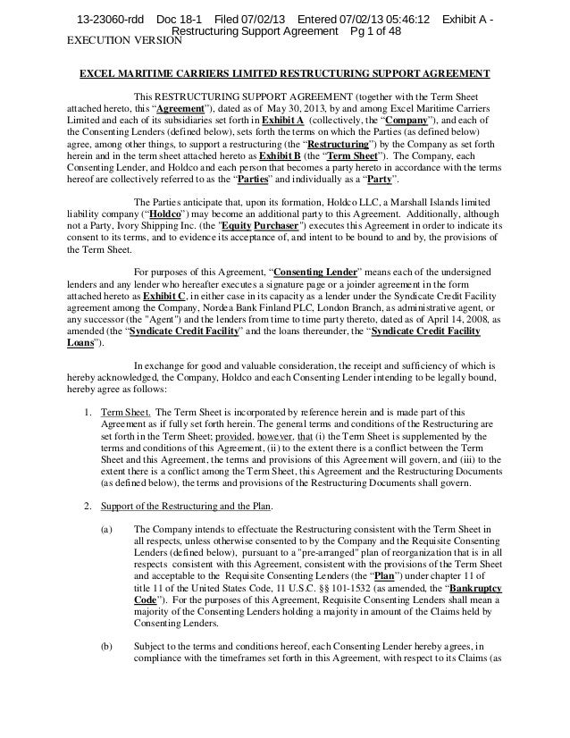 13-23060-rdd  Doc 18-1 Filed 07/02/13 Entered 07/02/13 05:46:12 Restructuring Support Agreement Pg 1 of 48 EXECUTION VERSI...