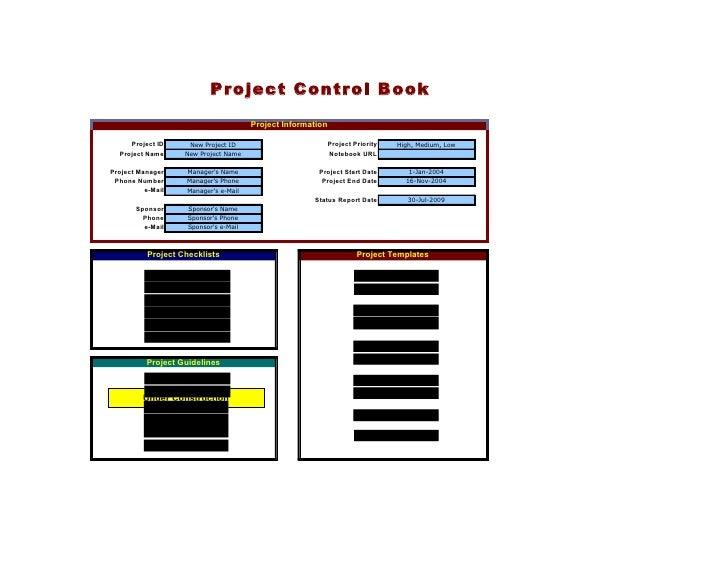 Project Control Book                                          Project Information       Project ID       New Project ID   ...
