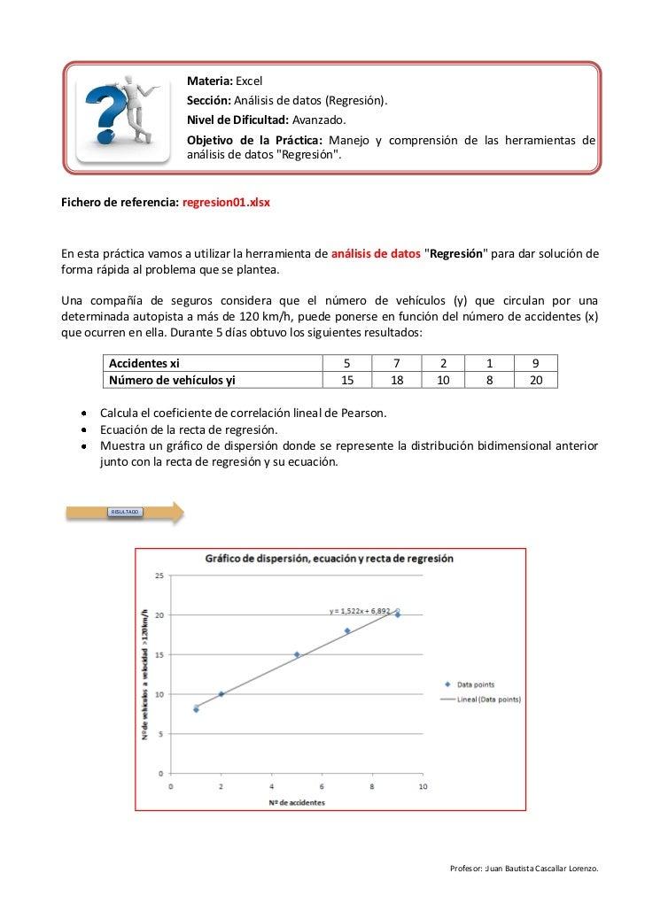Materia: Excel                       Sección: Análisis de datos (Regresión).                       Nivel de Dificultad: Av...
