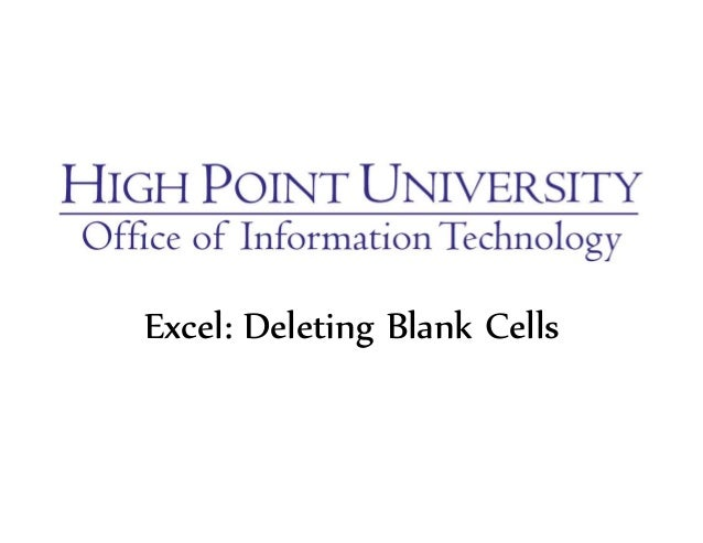 Excel: Deleting Blank Cells