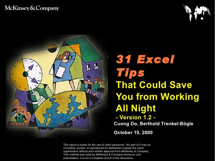 31 Excel Tips   That Could Save You from Working All Night - Version 1.2 -   Cuong Do, Berthold Trenkel-Bögle October 19, ...