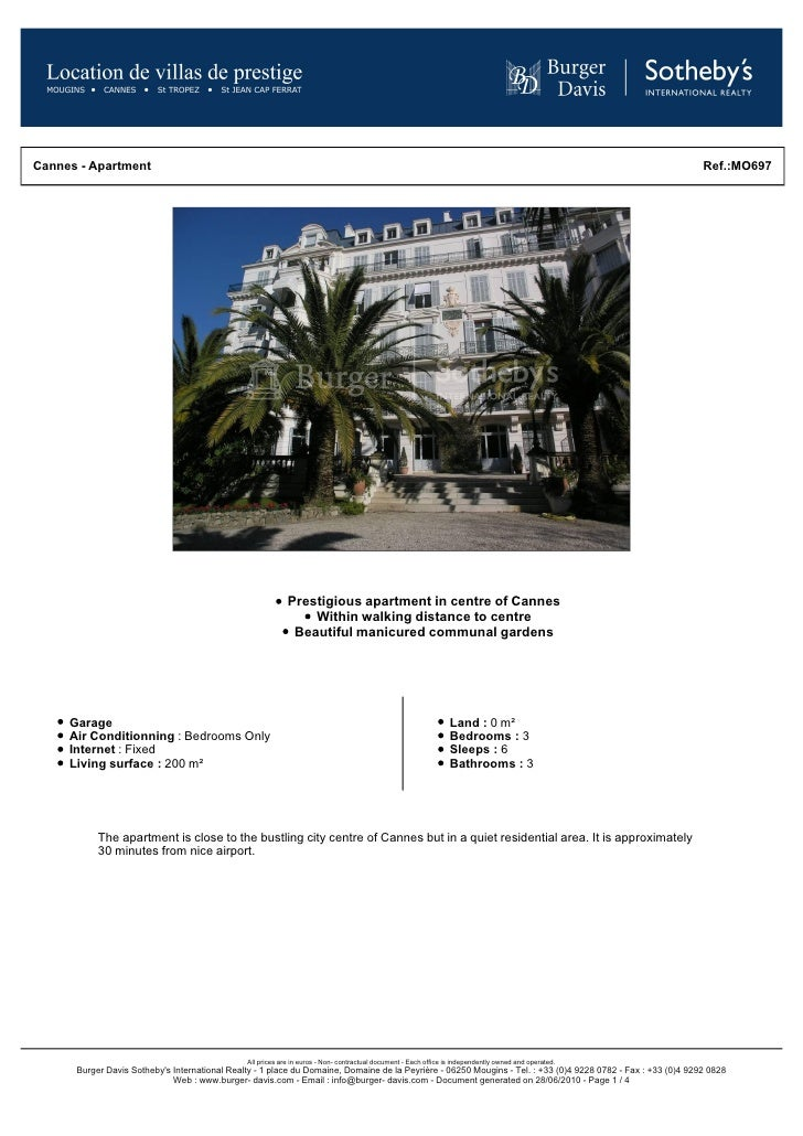 Exceptional apartment with many period features, in the centre of Cannes - Burger-Davis.com