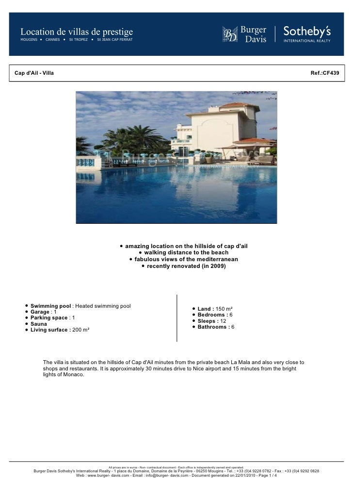Exceptional Rental Property In The Hillside Of Cap D Ail, Within Walking Distance Of The Beach