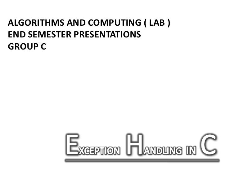 Exception handling in c programming