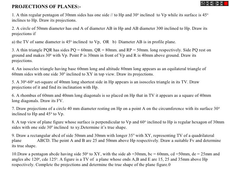 Planes Engineering Drawing Projections of Planes:-1