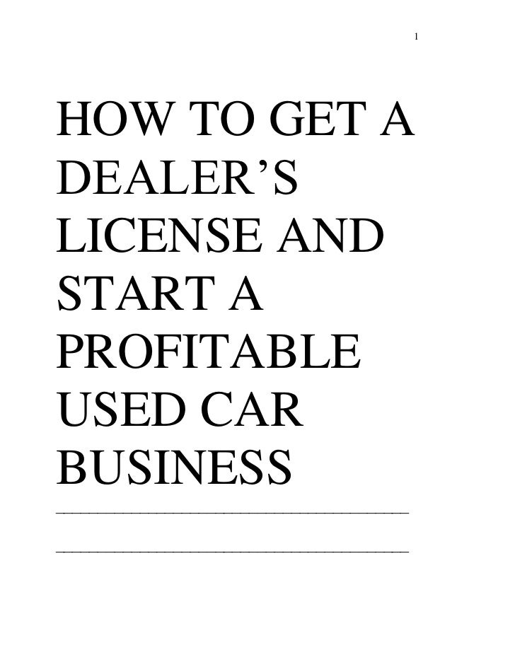 Excerpts how to get car dealers license