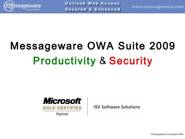 Messageware OWA Suite 2009 Productivity & Security  © Messageware Incorporated 2008