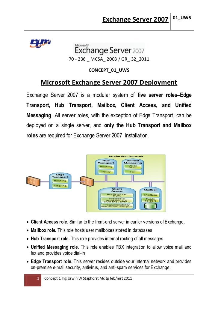 Exchange Server 2007                01_UWS                        70 - 236 _ MCSA_ 2003 / GR_ 32_2011                     ...