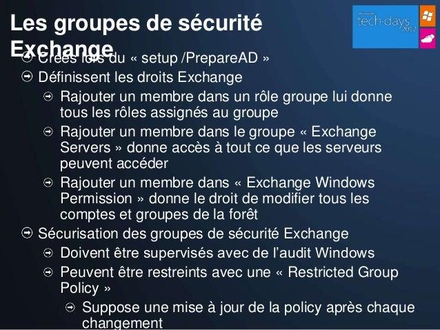 Exchange comment s curiser un serveur exchange 2010 - Comment changer un groupe de securite ...