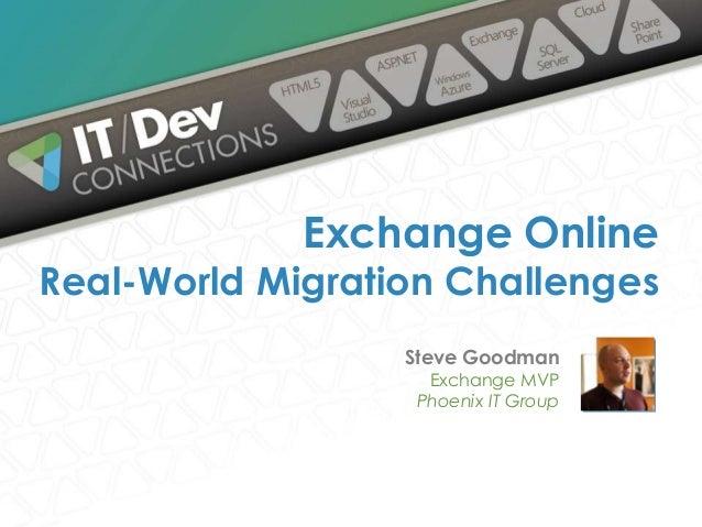 Exchange Online  Real-World Migration Challenges Steve Goodman Exchange MVP Phoenix IT Group