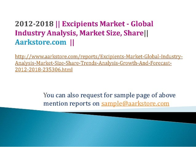 Excipients market   global industry analysis, market size, share
