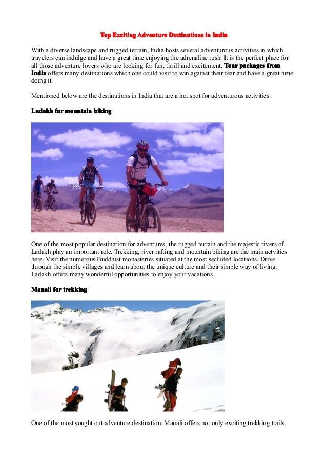 Exciting adventure destinations in india