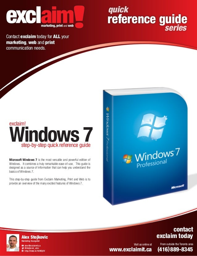 FREE Microsoft Windows 7 Quick Reference Guide from Exclaim
