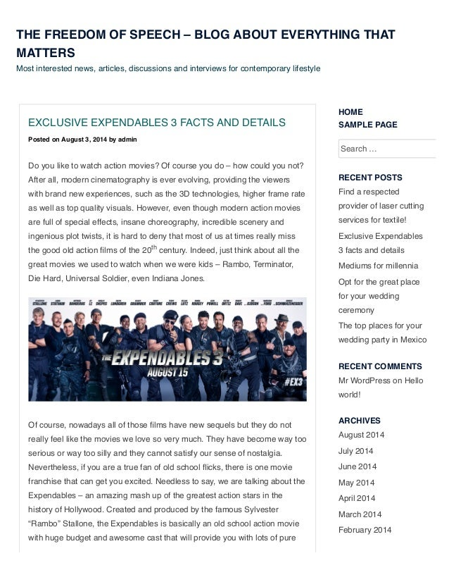 EXCLUSIVE EXPENDABLES 3 FACTS AND DETAILS Posted on August 3, 2014 by admin Do you like to watch action movies? Of course ...