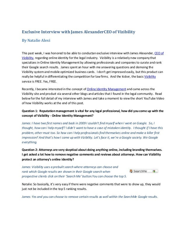 Exclusive interview with james alexander ceo of vizibility