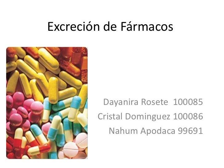 Excreción de Fármacos<br />DayaniraRosete  100085<br />Cristal Dominguez 100086<br />Nahum Apodaca 99691<br />